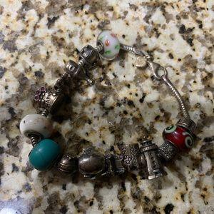 Jewelry - Sterling silver charm bracelet. Pandora, Chamilia
